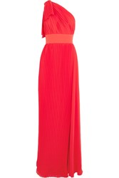 Elie Saab One Shoulder Plisse Georgette Gown Red