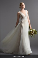 Women's Watters 'Santina' Lace Bodice A Line Gown In Stores Only