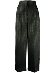Fendi Wide High Waisted Trousers Black