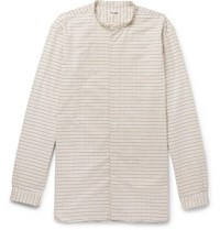 Camoshita Grandad Collar Checked Cotton Shirt Cream
