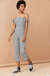 Glamorous Gingham Tie Strap Jumpsuit Black And White