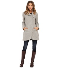 Jessica Simpson Asymmetrical Braided Wool Coat With Shawl Collar Grey Women's Coat Gray