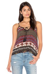 Band Of Gypsies India Print Swing Cami Black