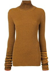 Victoria Beckham Fitted Turtle Neck Top Yellow