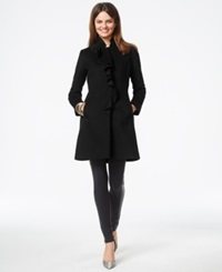 Dkny Ruffle Front Wool Blend Walker Coat Black