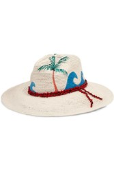 Sensi Studio Beaded Painted Toquilla Straw Panama Hat Off White