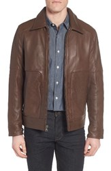 Marc New York Men's By Andrew Herrod Perforated Leather Jacket Mahogany