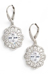 Nina Women's Vintage Drop Crystal Earrings Silver