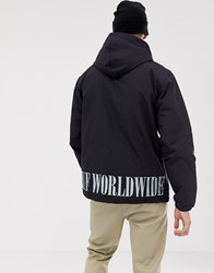 Huf Serif Quilted Coach Jacket With Embroidered Back Logo In Black