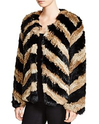 Moon And Meadow Chevron Rabbit Fur Jacket
