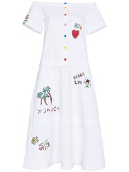 Mira Mikati Off The Shoulder Midi Dress With Patches White