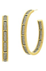 Freida Rothman Women's All Around Cubic Zirconia Hoops Black Gold