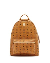 Mcm Stark No Stud Medium Backpack Cognac