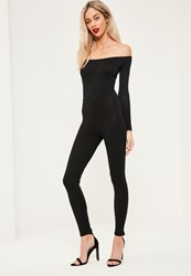 Missguided Black Long Sleeve Bardot Jersey Unitard Jumpsuit