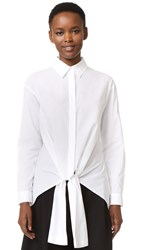 Cedric Charlier Tie Front Top White