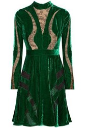 Elie Saab Chantilly Lace Paneled Crushed Velvet Dress Forest Green