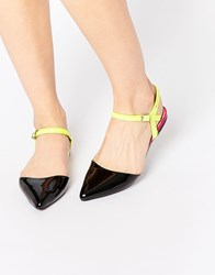 Asos Leah Pointed Two Part Ballet Flats Black