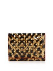 Christian Louboutin Macaron Mini Spiked Patent Leopard Wallet Brown Gold