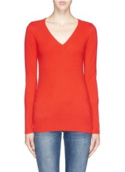 J.Crew Collection Cashmere V Neck Sweater Red