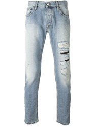 Just Cavalli Patch Pocket Distressed Jeans Blue