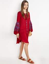 Pixie Market Flowy Sleeves Red Boho Button Dress