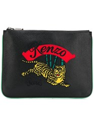 Kenzo Embroidered Tiger Clutch Black