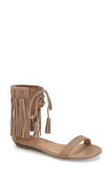 Women's Very Volatile 'Aubrey' Fringe Lace Up Sandal Taupe Faux Leather