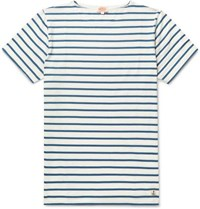 Armor Lux Striped Cotton Jersey T Shirt Blue