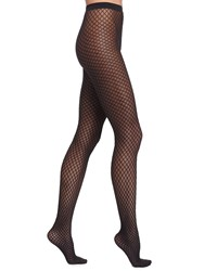 Wolford Sibylle Sheer Diamond Tights Gobi Black