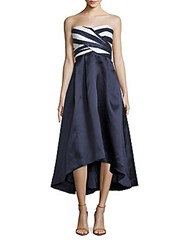 Shoshanna Strapless Hi Lo Dress Navy White Combo