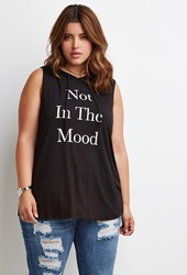 Forever 21 Mood Graphic Hoodie Black Cream