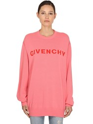 Givenchy Logo Intarsia Cashmere Knit Sweater Pink