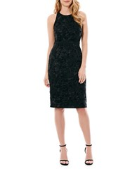 Laundry By Shelli Segal Metallic Floral Embroidered Dress Black