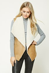 Forever 21 Faux Leather Sherpa Fleece Vest