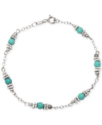 Macy's Manufactured Turquoise Station Bracelet In Sterling Silver 4 Ct. T.W.
