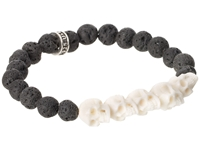 King Baby Studio 8Mm Lava Rock Bead Bracelet W 5 White Bone Skull Bridge