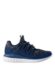 Adidas Tubular Radial Leather Trimmed Running Sneakers Mystery Blue