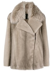Blancha Asymmetric Fur Jacket Nude And Neutrals