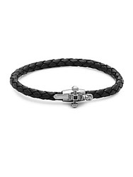 Link Up Onyx And Leather Skull Braided Bracelet Black