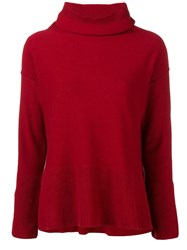 Antonelli Turtleneck Fine Knit Sweater Red