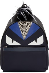 Fendi Navy Fur Trimmed Monster Backpack