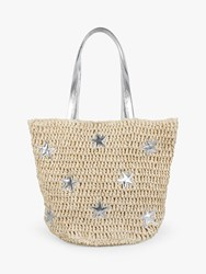 Hush Cannes Straw Star Detail Tote Bag Neutral Silver