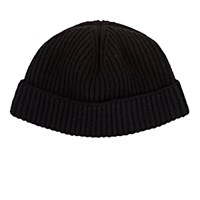 Lanvin Men's Rib Knit Wool Beanie Black Blue Black Blue