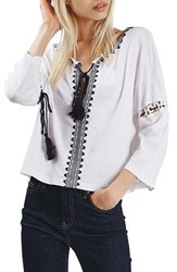 Topshop Women's Embroidered Tassel Peasant Top