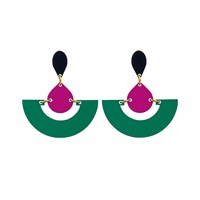Toolally Fans Emerald And Plum Black Green Pink