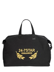 Dsquared Logo Embroidered Canvas Duffle Bag
