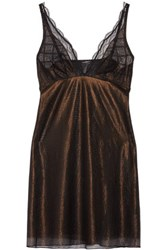 Cosabella Amalfi Lace Trimmed Metallic Tulle Chemise Black