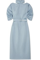 Emilia Wickstead The Woolmark Company Belted Wool Crepe Midi Dress Light Blue
