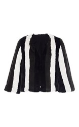 Anna Sui Paneled Faux Fur Jacket Stripe