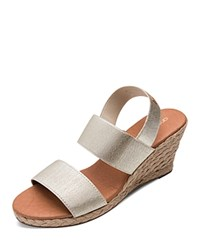 Andre Assous Allison Stretch Strap Mid Wedge Espadrille Sandals Platino